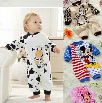 2015 New Summer Autumn Children Pajamas Mickey Minnie Cow Baby Rompers Newborn Baby Romper Boys Girls Underwear Cotton Jumpsuit(China (Mainland))