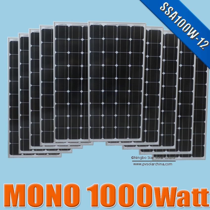 1000W 10PCX 1000W 18V Monocrystalline silicon Solar Panel 1KW Watts mono Solar Module 12V DC photovoltaics kits(China (Mainland))