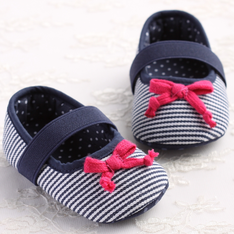 Girls First Walker Baby shoes Canvas Summer Princess Cute Girls Toddler Striped Front Butterfly Knot Shoes(China (Mainland))