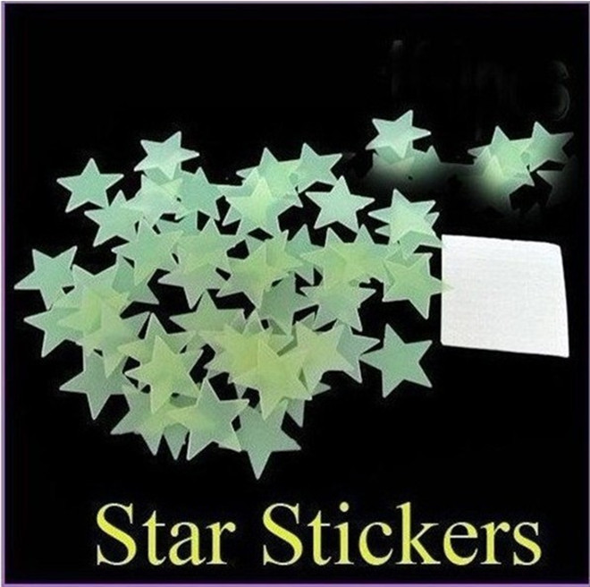 100pcs/ pack Luminous Stars Fluorescent Noctilucent Starts Stickers Three-dimensional Wall Stickers Glow In The Dark Baby(China (Mainland))