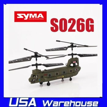 3CH Syma S026 Chinook RC Remote Control Helicopter S026G 3 Channel with GYRO Toy ship from  USA
