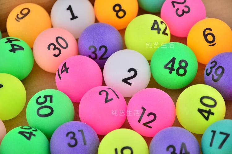 50pcs NO.1-50 digital letter ball game raffle ball lottery Table Tennis PingPong Balls