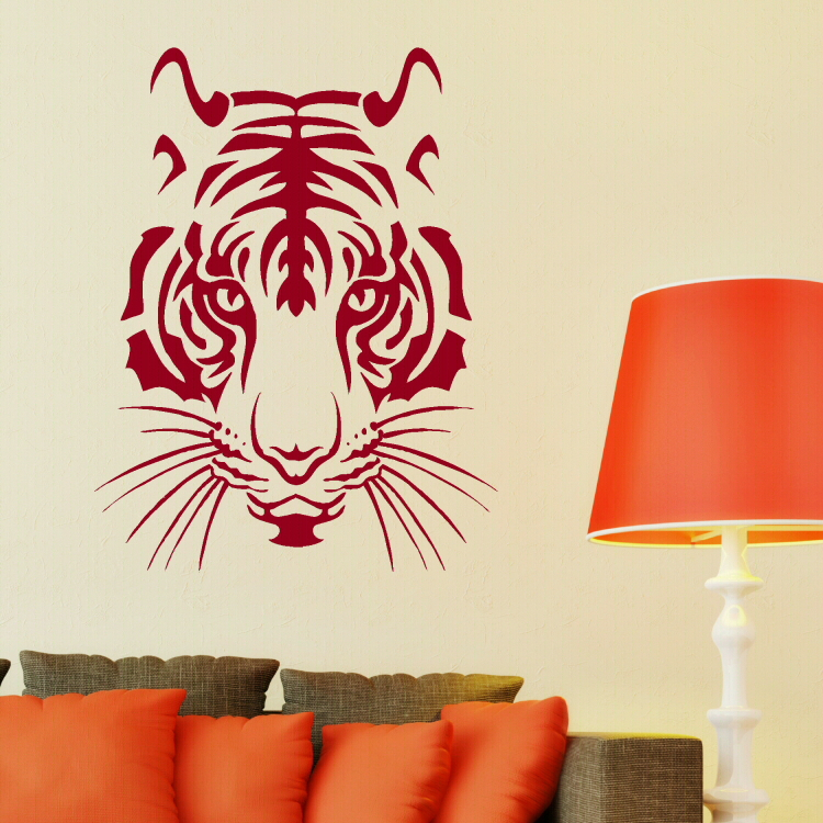 Vinyl tiger lion head big cat animales cub giant sticker for Giant wall art