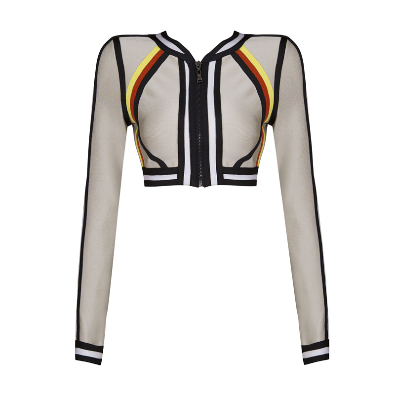 Free Shipping 2015 Autumn New Womens Zip Front Nude Bandage Tops Long Sleeve Wholesale DropshippingОдежда и ак�е��уары<br><br><br>Aliexpress