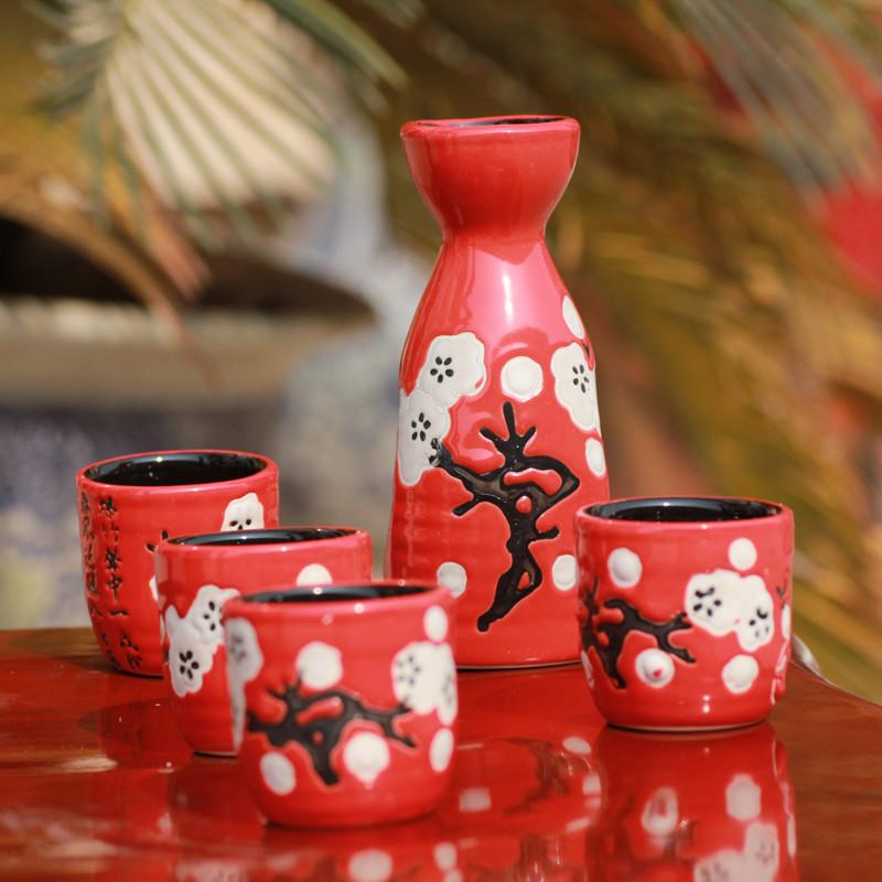 Jingdezhen ceramic bar set kit chinese style japanese style sake baijiu hip flask wine glass gift zakka(China (Mainland))