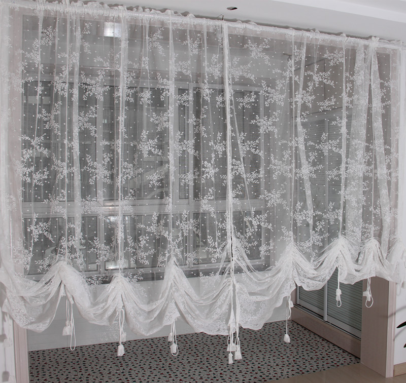 Embroidered valance partition customize white lace gauze for Curtain partition living room
