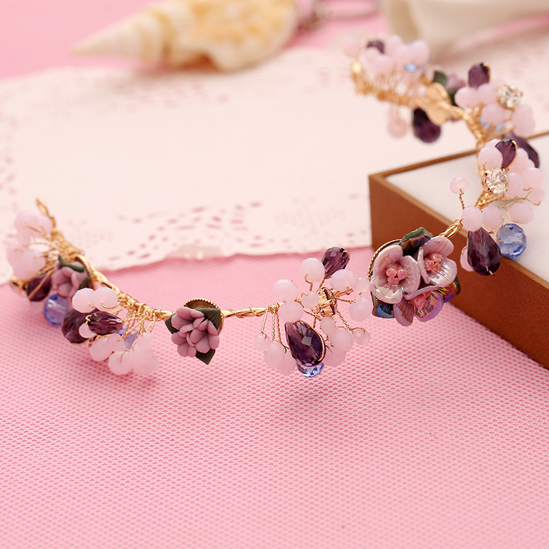 Purple flower hair jewelry popular handmade pearl tiaras soft headband fashion crown bridal wedding accessories women headpiece(China (Mainland))