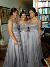 New Arrival A-line V-neck Cap Sleeves Floor Length Chiffon Lace Gray Elegant Long Bridesmaid Dresses 2017(China (Mainland))