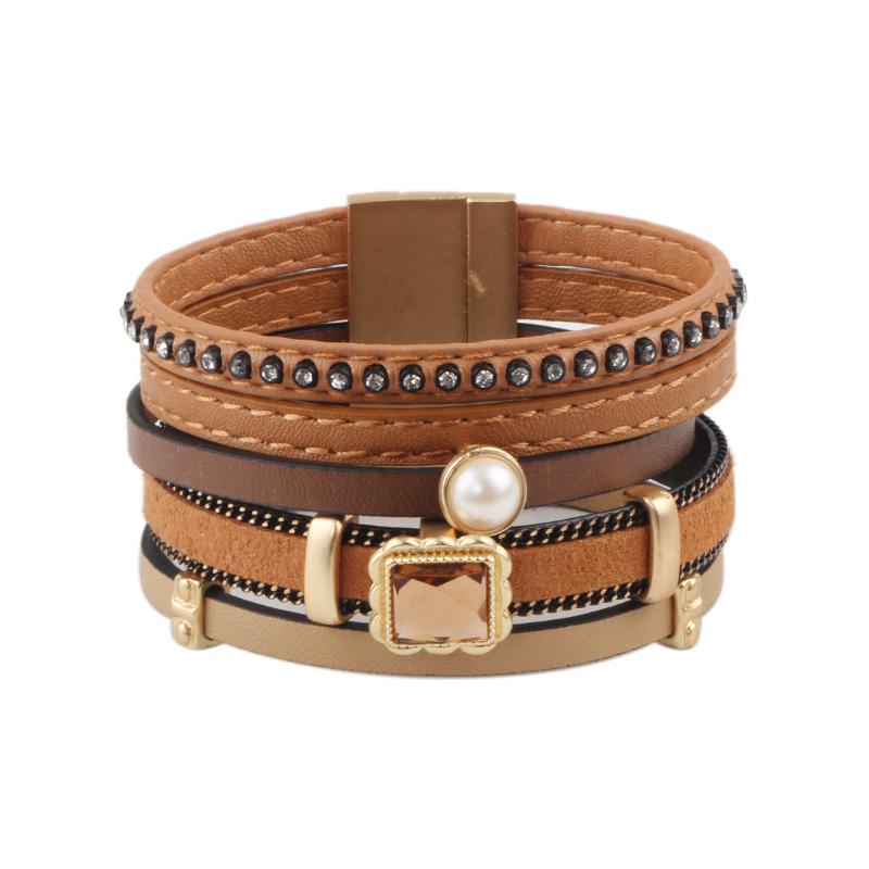 European and American Vintage Multilayer Leather Rhinestone Bracelets Hot new products Pulseiras&Braceletes Wholesale(China (Mainland))