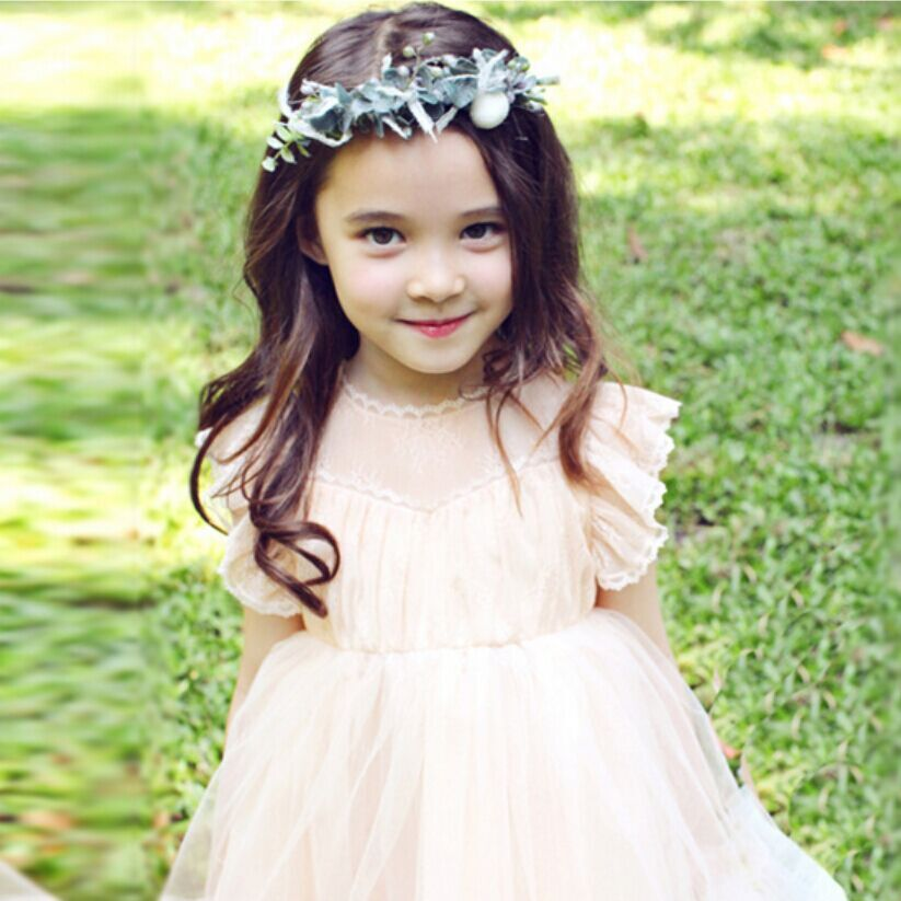 Princess 2016 baby girl dresses with sheer lace Korean style celebrity children girls kids ANGEL'S WINGS Clothes For Age 2-7T(China (Mainland))