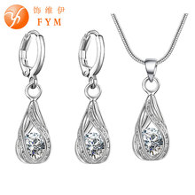 5 Colors Water Drop Pendent Transparent Zircon Cubic Snake Chain Necklace Earrings Jewelry Set for Women Bridal Wedding Party(China (Mainland))