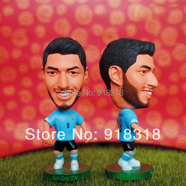 "Soccer 2014 world cup Uruguay Team 9# SUAREZ 2.5"" Toy Doll Figure(China (Mainland))"