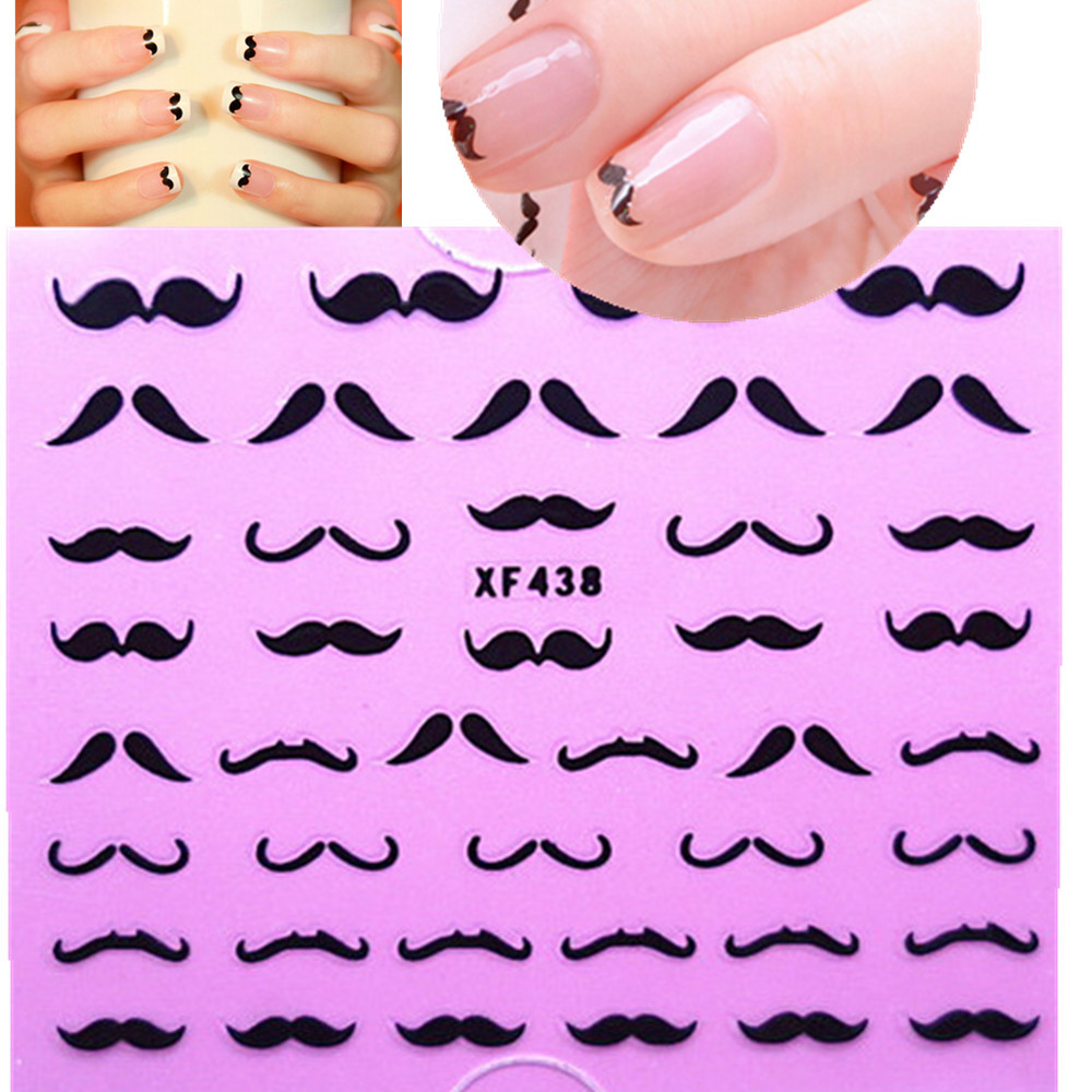 1sheet New Mustache New Arrival 3d Nail Art Stickers Decorations Stamping DIY Manicure Sexy Cools Decals Fancy Wraps XF438(China (Mainland))