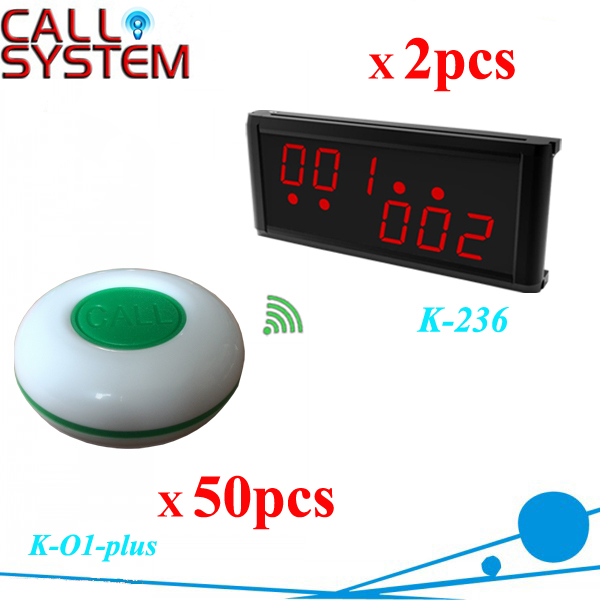 433MHZ Restaurant Coffee Bar Wireless Call Calling System Waiter Service Paging System K-236+O1-plus (2 receivers+50 buttons)(China (Mainland))