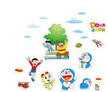 Cartoon Doraemon Wall Sticker Home Decoration Wall Decals for Kids Rooms bedroom kindergarten living room Poster Wallpaper AY860