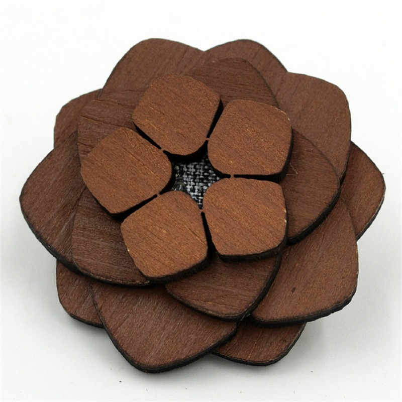 Handmade Short Lapel Pins Wood Brooch Good Gift Crafts Corsage For Men & Women Wedding Dress Men's Suit Black Flower Brooches(China (Mainland))