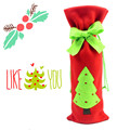 2015 Fashion Cute Santa Clause Dress Merry Christmas Decoration Wine Bottle Cover Bags Gift Wrap Party