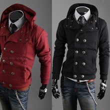 2015 autumn and winter double breasted male fashion with a hood sweatshirt cardigan men's clothing jacket outerwear(China (Mainland))