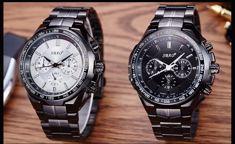 BOUNABAY ЧАСЫ Мужчины Роскошные Кварцевые Три Небольших Циферблаты Аналоговый Наручные Часы Мода Автоматическая Бизнес Часы Datajust Водонепроницаемый Часы