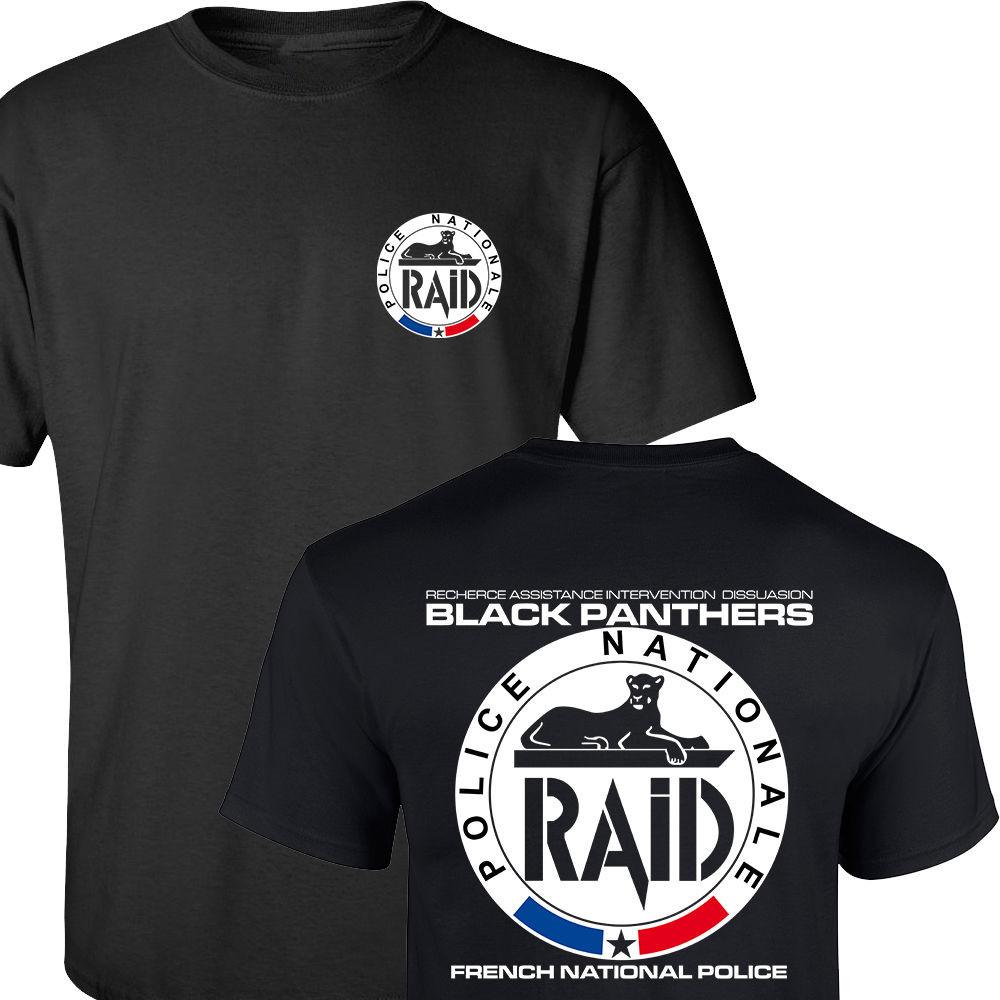 RAID FRENCH NATIONAL POLICE Men's T Shirt ANTI-TERRORISM UNIT GIGN SPECIAL Fashion Black Tee T-shirts Front&Back Printing S-3XL(China (Mainland))