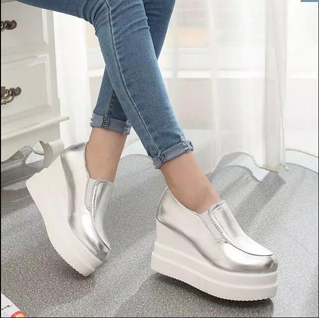 2015 autumn women's platform shoes high-heeled shoes wedges brief black leather pumps