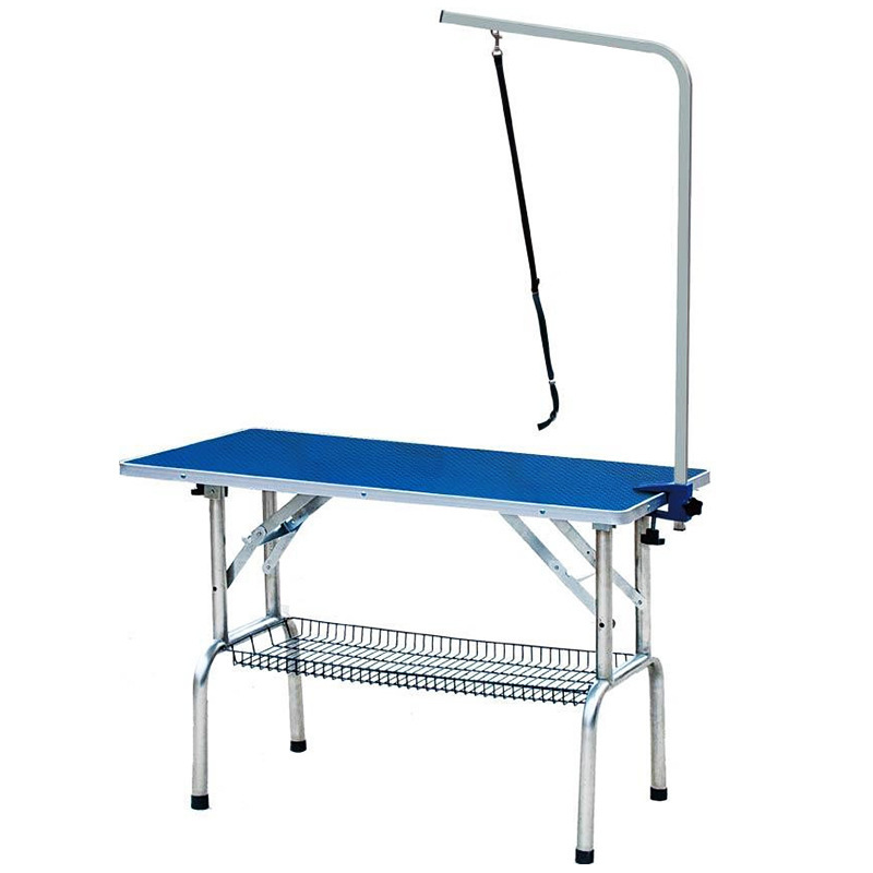 Stainless steel folding beauty tables pet grooming station for Foldable beauty table