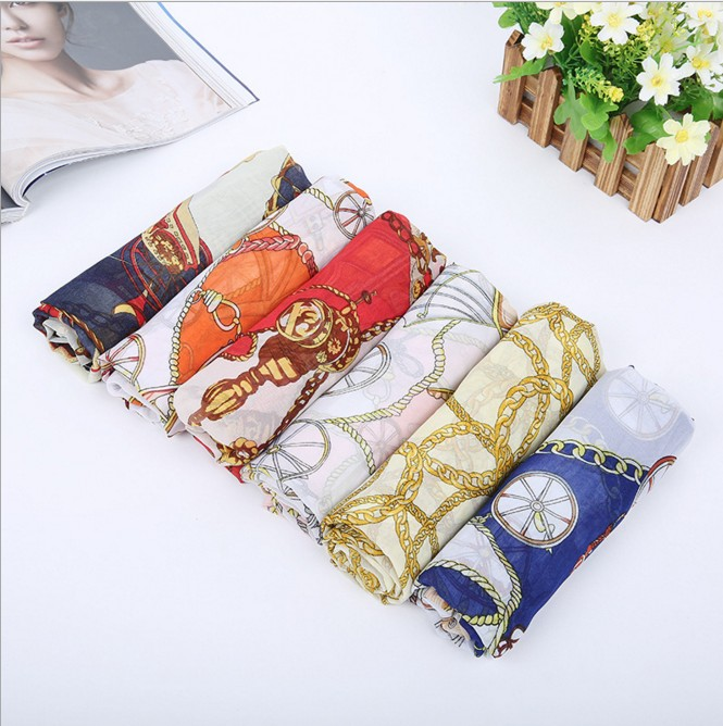 2016 Brand Designer Scarf For Women Imitate Silk Satin Wraps Summer Shawls Soft Shemagh Cheap Carriage Print Scarves And Stole(China (Mainland))
