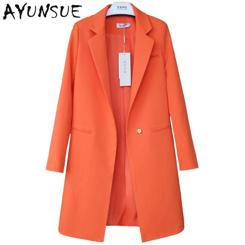 European Style Brand Candy Colors Blazer Feminino Newest 2017 Autumn Winter Women Clothing Long Loose Casual Coat Women's Jacket