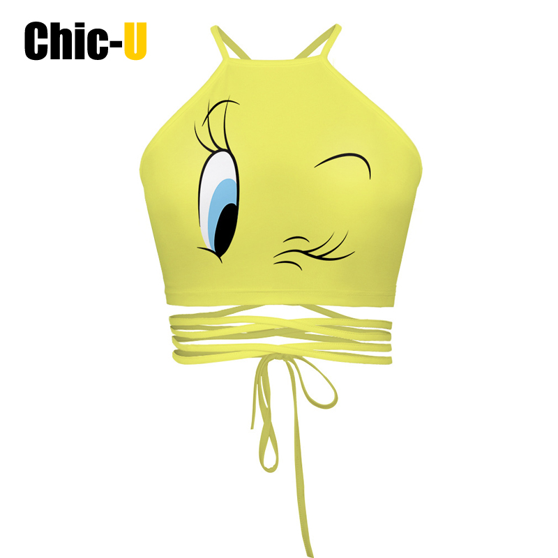 women summer crop tops bustier crochet short camisole bandage New hot style yellow printed sexy backless wipes bosom cross lace(China (Mainland))