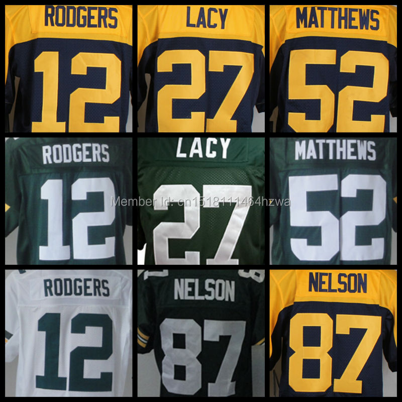 Jordy Nelson Bart Starr Aaron Rodgers eddie lacy Ha Ha Clinton Dix Julius Peppers Clay Matthews Brett Favre randall cobb jersey(China (Mainland))