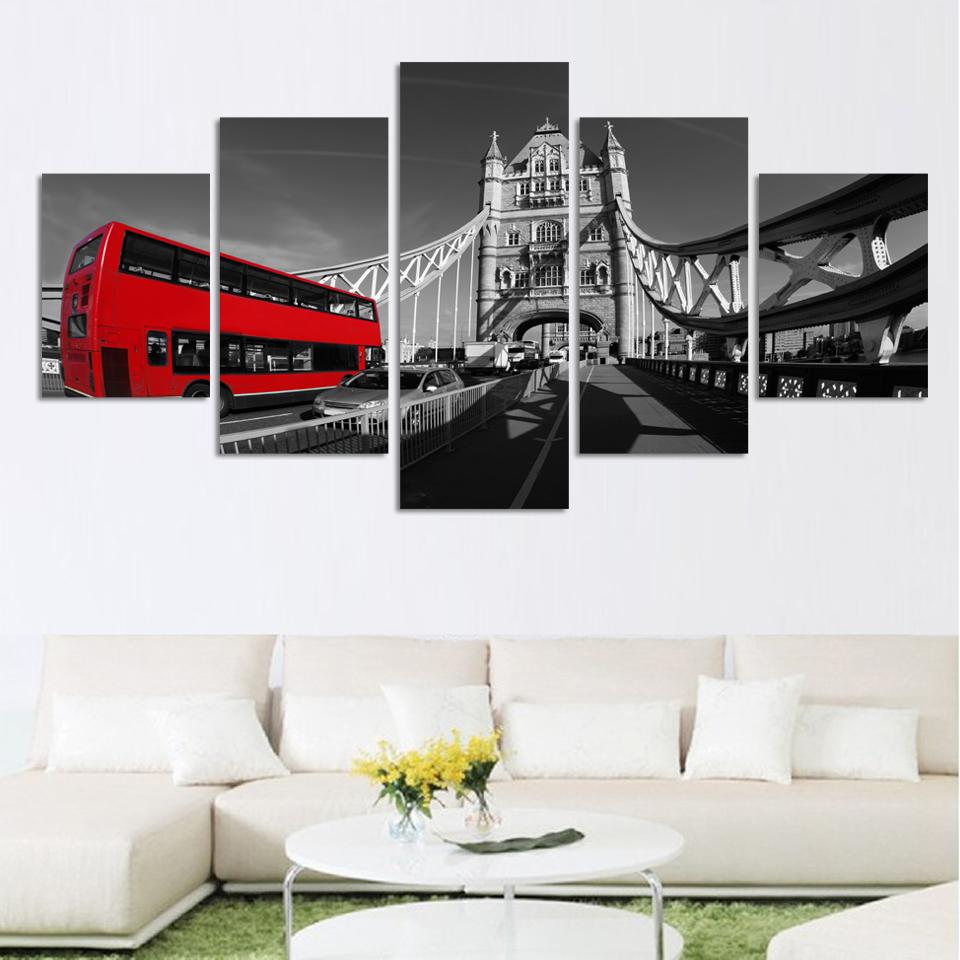 Unframed Black and white style scenery painting canvas print wall art picture for home decorations HD Bridge and red bus picture(China (Mainland))