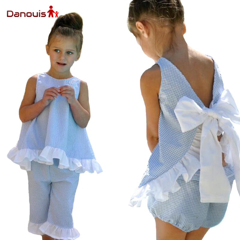 2017 trendy kids clothing summer plaid sleeveless clothes baby girls