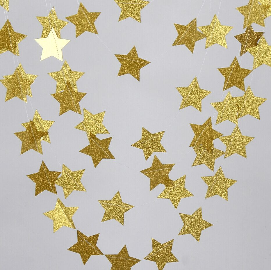12 Feets Gold Glitter Star Paper Garland- Wedding Party Decorations(China (Mainland))