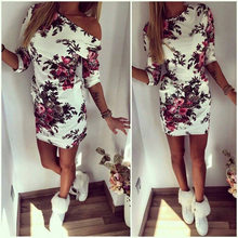 2016 New Style Summer Dress Cartoon Printed O Neck Half Sleeve Mini Party Dresses Women Spring Floral Casual Bodycon Dress Robe(China (Mainland))