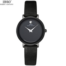 Simple Genuine Leather Women Quartz-Watch Hot Fashion Crystal Decorated Ladies Watches IBSO Brand Waterproof Female Clock Black