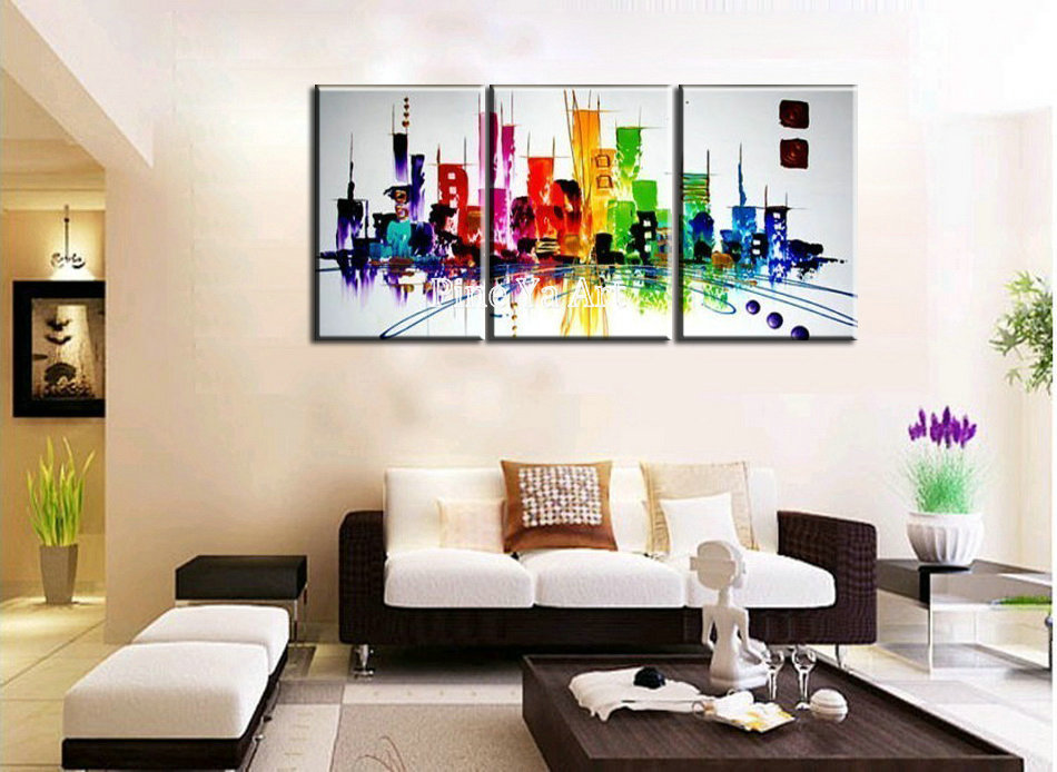 3 piece modern canvas wall art triptych muti abstract city for Decoration pieces for drawing room