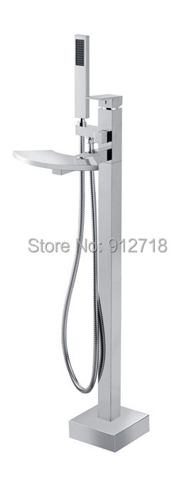 Retail High End New Bath suqrefoot Bathtub Faucet Solid Brass Free Stand Tub Mixer 9114 - Viskia Sanitary Ware Co.,Ltd. store