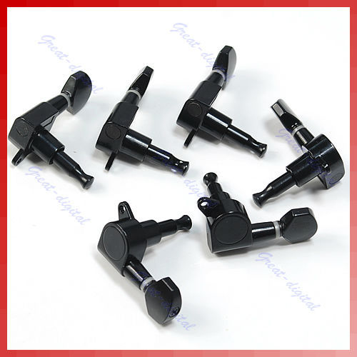 B39Free Shipping Black Inline Guitar String Tuning Pegs Tuners Machine Head 6L Left(China (Mainland))