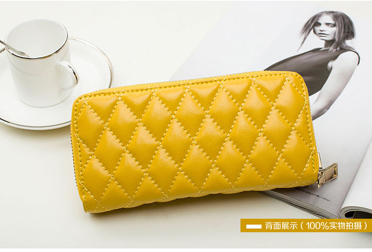 2015The new summer leather wallet lady wholesale fashion classic rhombohedrons, double zipper leather female Wallet(China (Mainland))