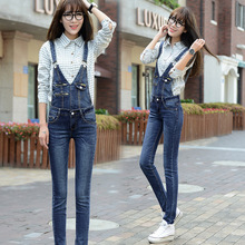2016 Women Girls Washed Overalls Jeans Denim Casual Skinny Jumpsuit Romper Overalls Full Length Pants Trousers