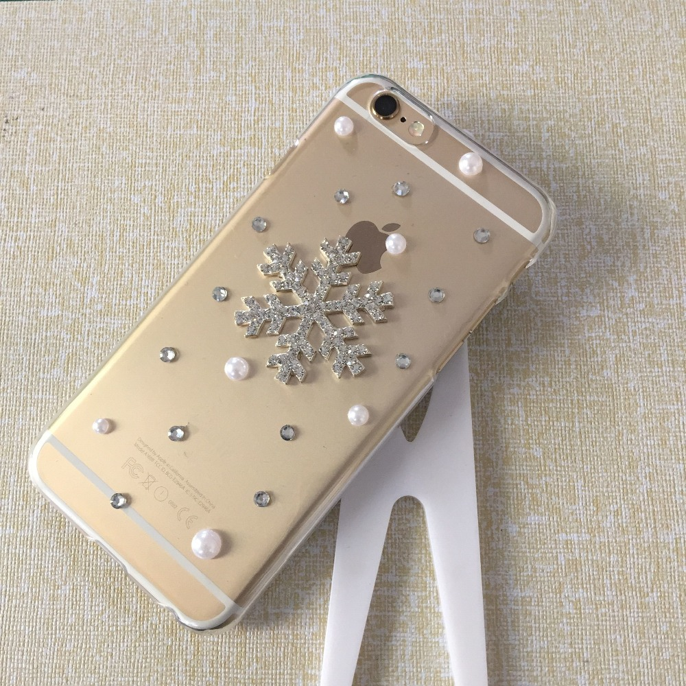 2015 New luxury bling DIY Diamond Christmas Snowflake mobile back cover phone bag For iPhone 4 4s 5 5c 5s 6 6s Plus case(China (Mainland))
