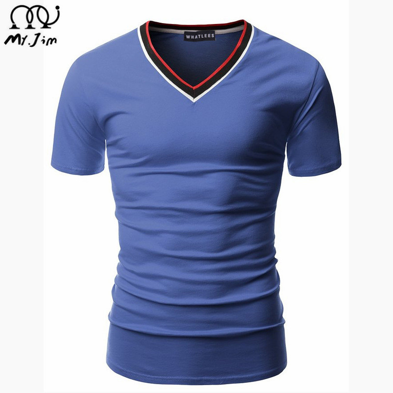 Men's Tops Tees 2016 summer new cotton v neck short sleeve t shirt men fashion trends fitness t-shirt free shipping Size M-XXL(China (Mainland))