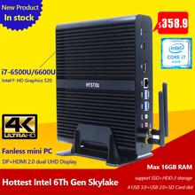 Buy High End 6th Gen Intel Core i7 6500U 6600U Skylake Fanless Mini PC Support Windows 10 Linux TV Box HD 4K Mini Computer Gaming PC for $343.30 in AliExpress store