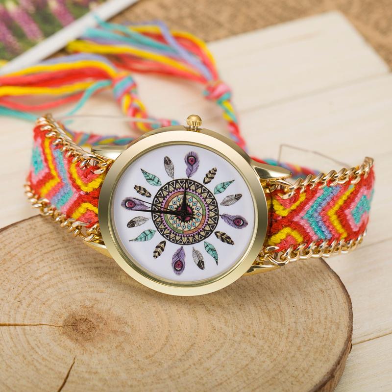 Гаджет  13 Colors Native Handmade Braided Friendship Geneva Watch Women Quartz Dress Watches Twelve Feather Watch Relogio Feminino  None Часы