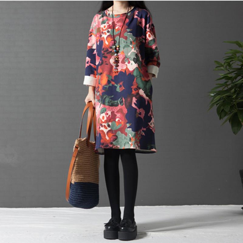Autumn Dress Ethnic Plus Size XXL Long Sleeve Loose Casual Women Dress Floral Print One Piece Dress O Neck  Vintage Dress