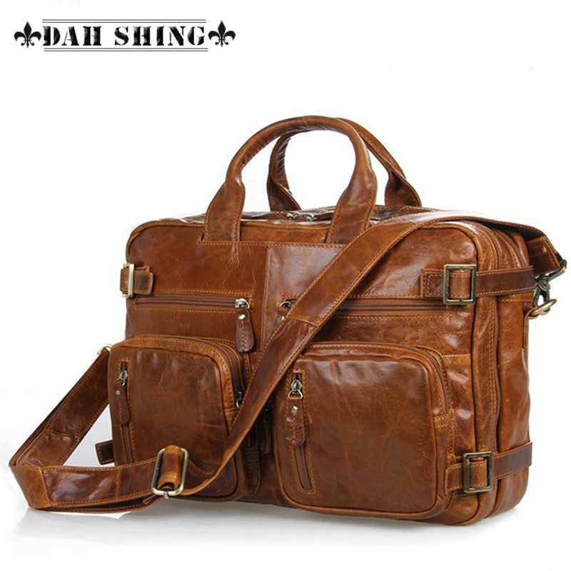 2016 Brown Large capacity 100% genuine leather men's travel bags grain backpacks duffle 11.5*15 inches - Dah Shing Fashion Co., Ltd. store