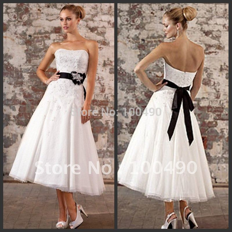 2015white tea length bridal dresses with black sashes in for Black tea length wedding dress