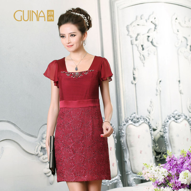 Guina beading silk women's crochet silk pleated mulberry silk short-sleeve dress