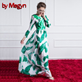 Summer Dress 2016 Leaf Printing Crystal Dragonfly Appliques Maxi Long Dress Women Casual Loose Robe Vintage