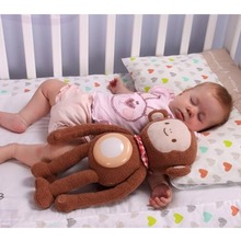 New Itty-bitty Baby Musical Sleeping Night Light Lamp Plush Doll Monkey Chicken Tiger Sea Turtle Shape Toy Best Gift For Baby(China (Mainland))